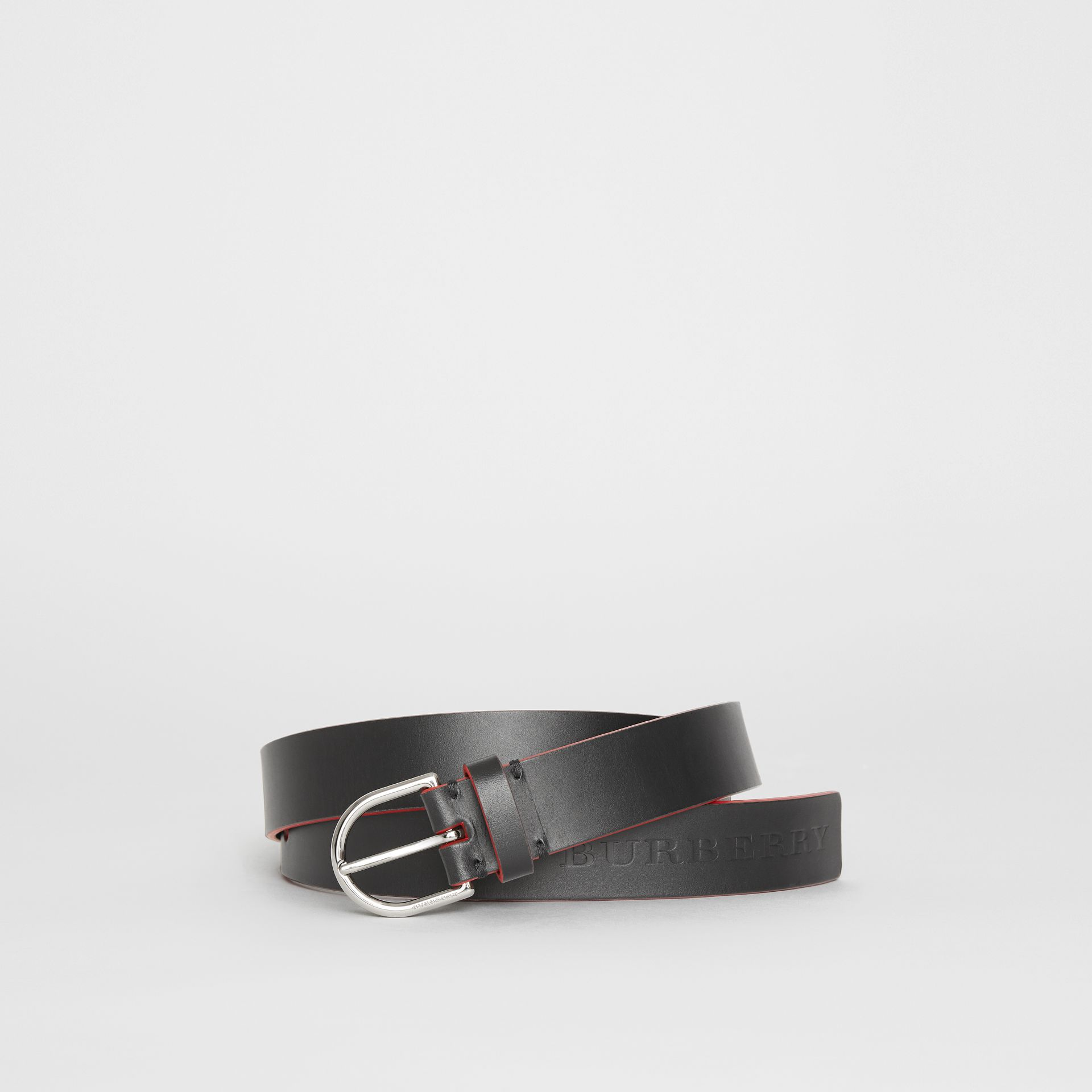 Contrast Edge Leather D-ring Belt in Black/red - Men | Burberry United States - gallery image 0