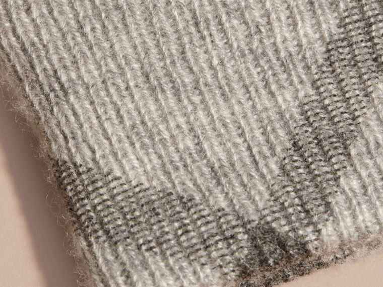 Pale grey melange Check Detail Cashmere Gloves - cell image 1