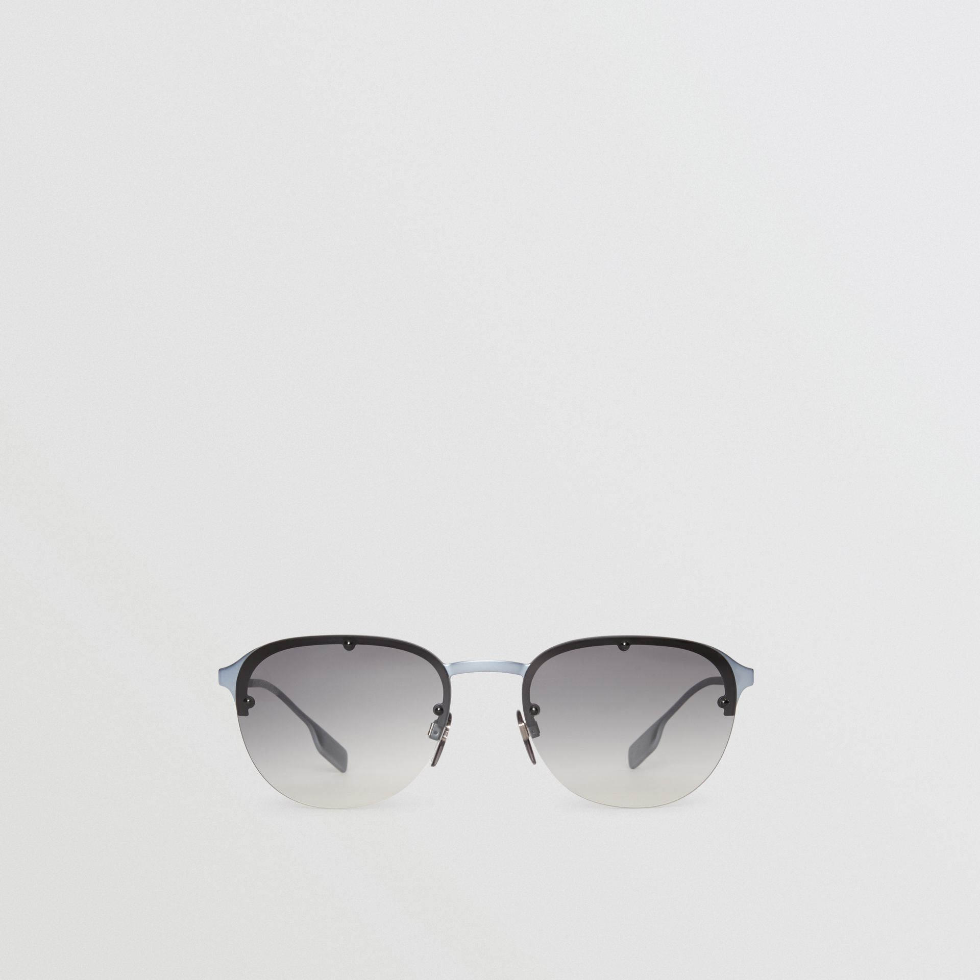 Round Frame Sunglasses in Grey - Men | Burberry Australia - gallery image 0