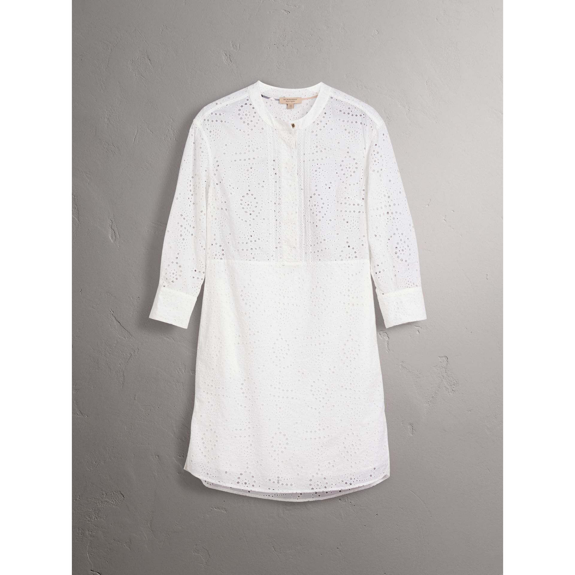 Collarless Broderie Anglaise Shirt Dress in White - Women | Burberry - gallery image 2