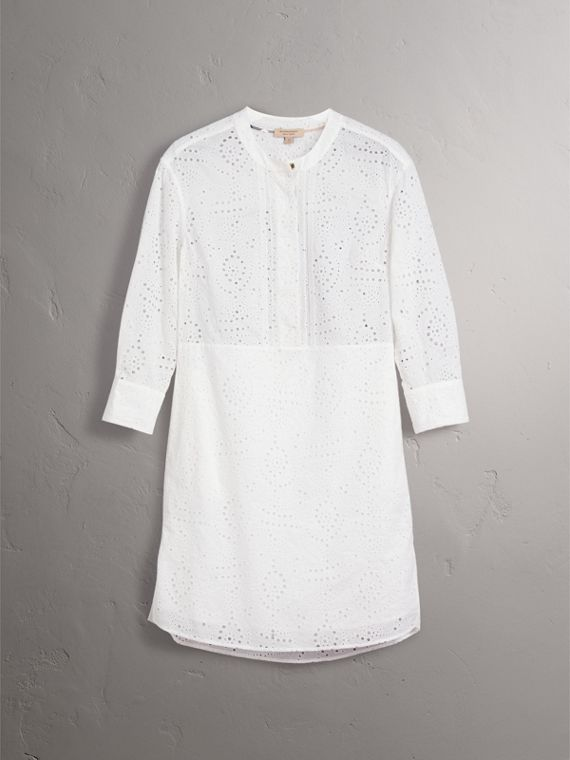 Collarless Broderie Anglaise Shirt Dress in White - Women | Burberry - cell image 2