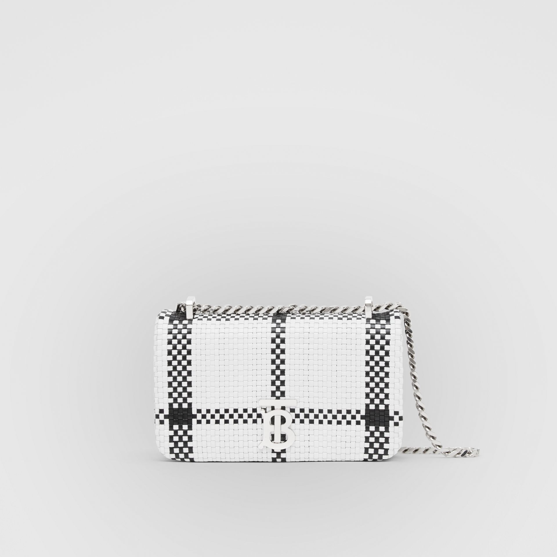 Mini Latticed Leather Lola Bag in Black/white - Women | Burberry - gallery image 0
