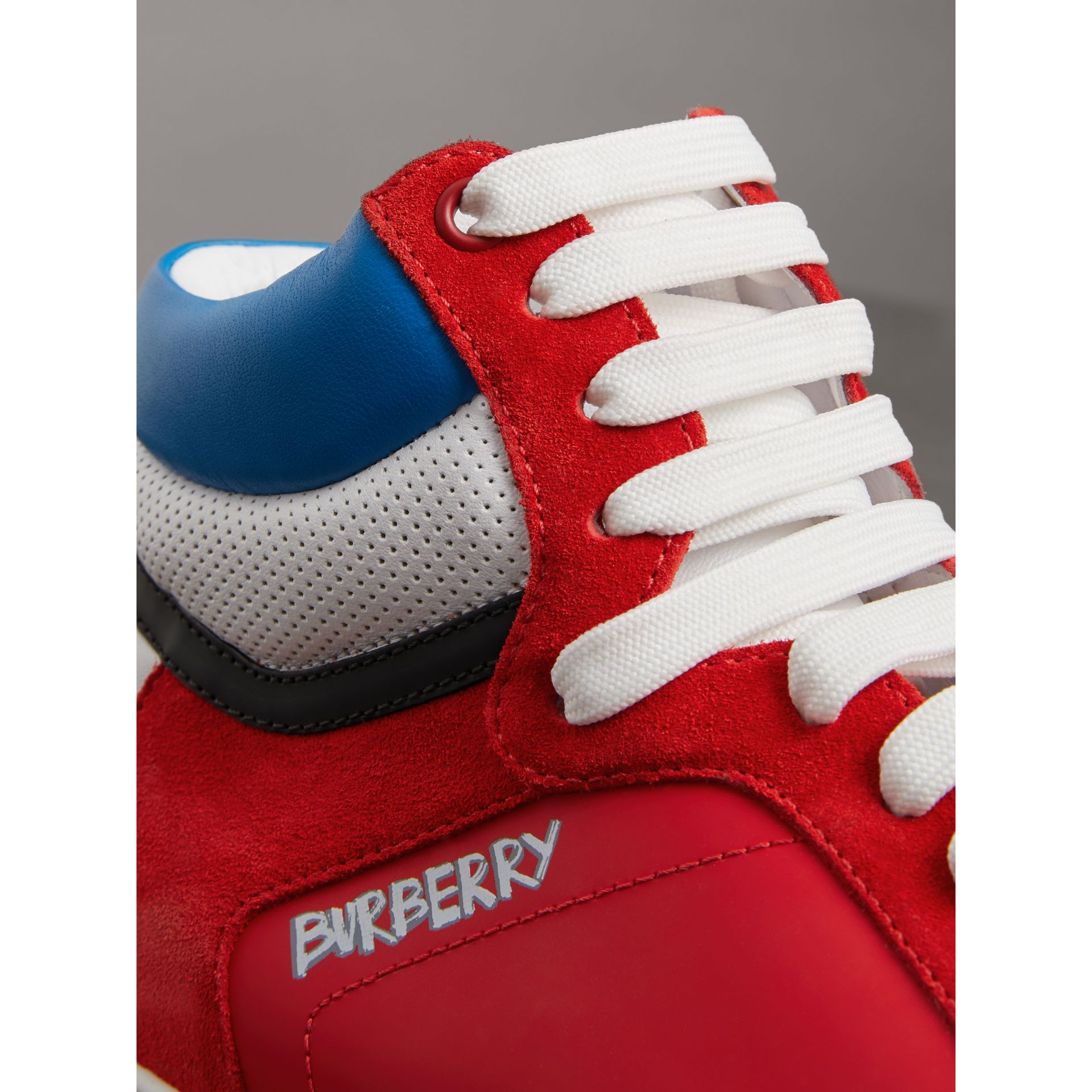 Leather and Suede High-top Sneakers in Bright Red - Men | Burberry - gallery image 1