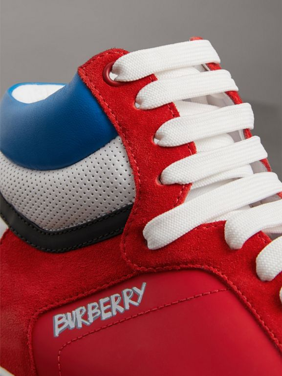 Leather and Suede High-top Sneakers in Bright Red - Men | Burberry - cell image 1