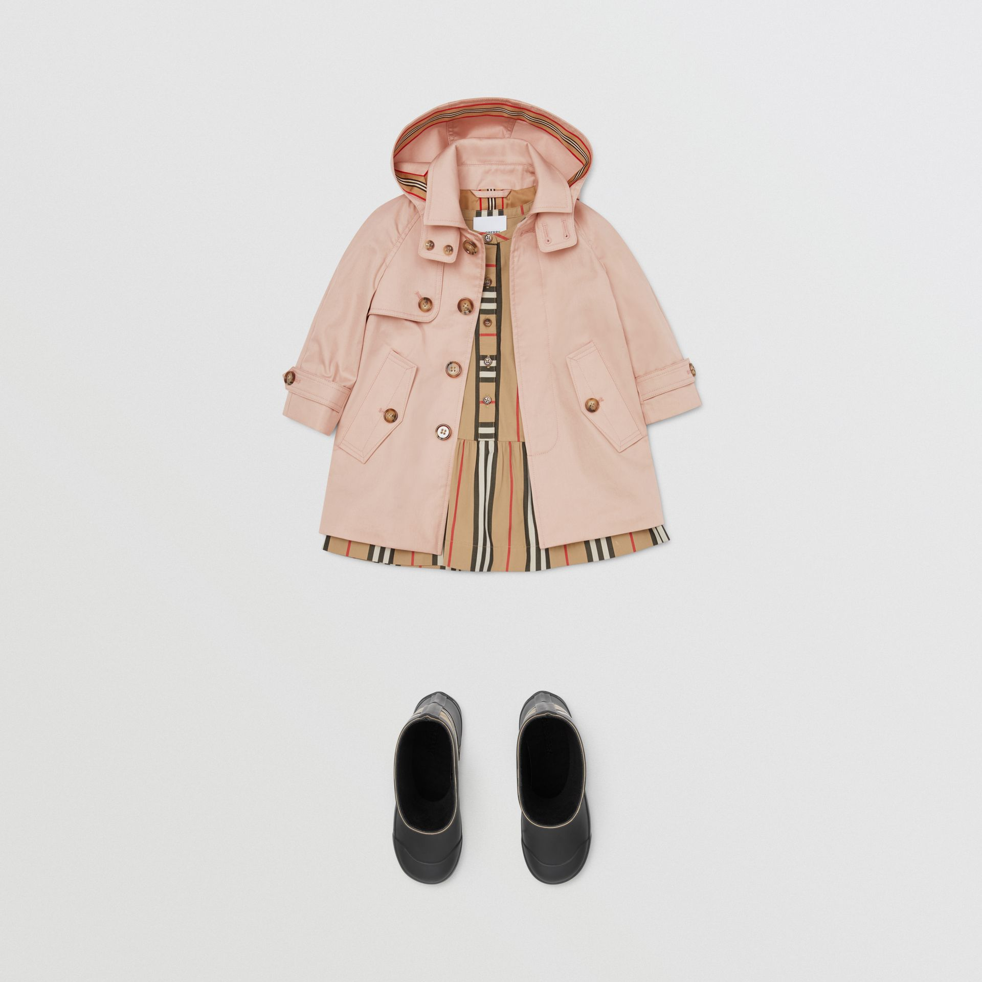 Detachable Hood Cotton Twill Car Coat in Ice Pink - Children | Burberry - gallery image 2