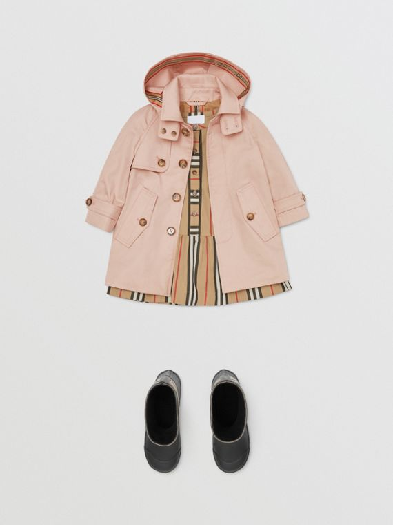 Detachable Hood Cotton Twill Car Coat in Ice Pink
