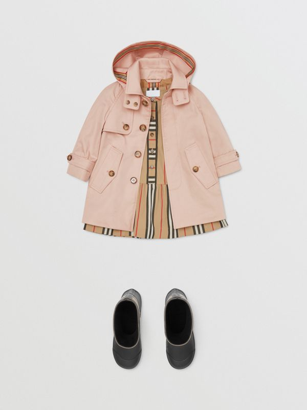 Detachable Hood Cotton Twill Car Coat in Ice Pink - Children | Burberry - cell image 2