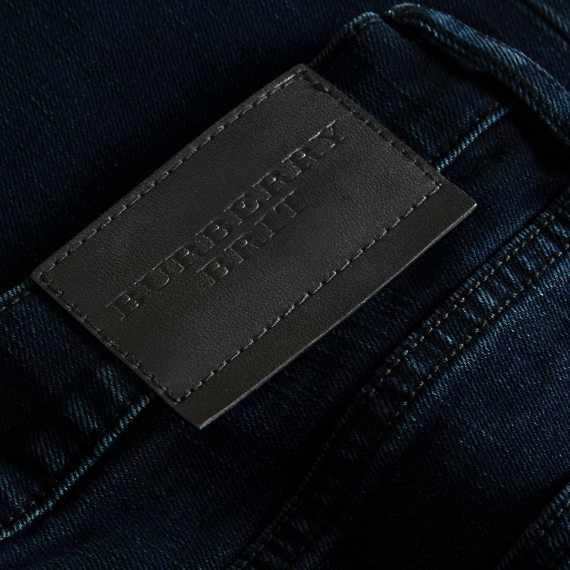 Dark indigo Slim Fit Over-dyed Stretch Jeans - gallery image 2