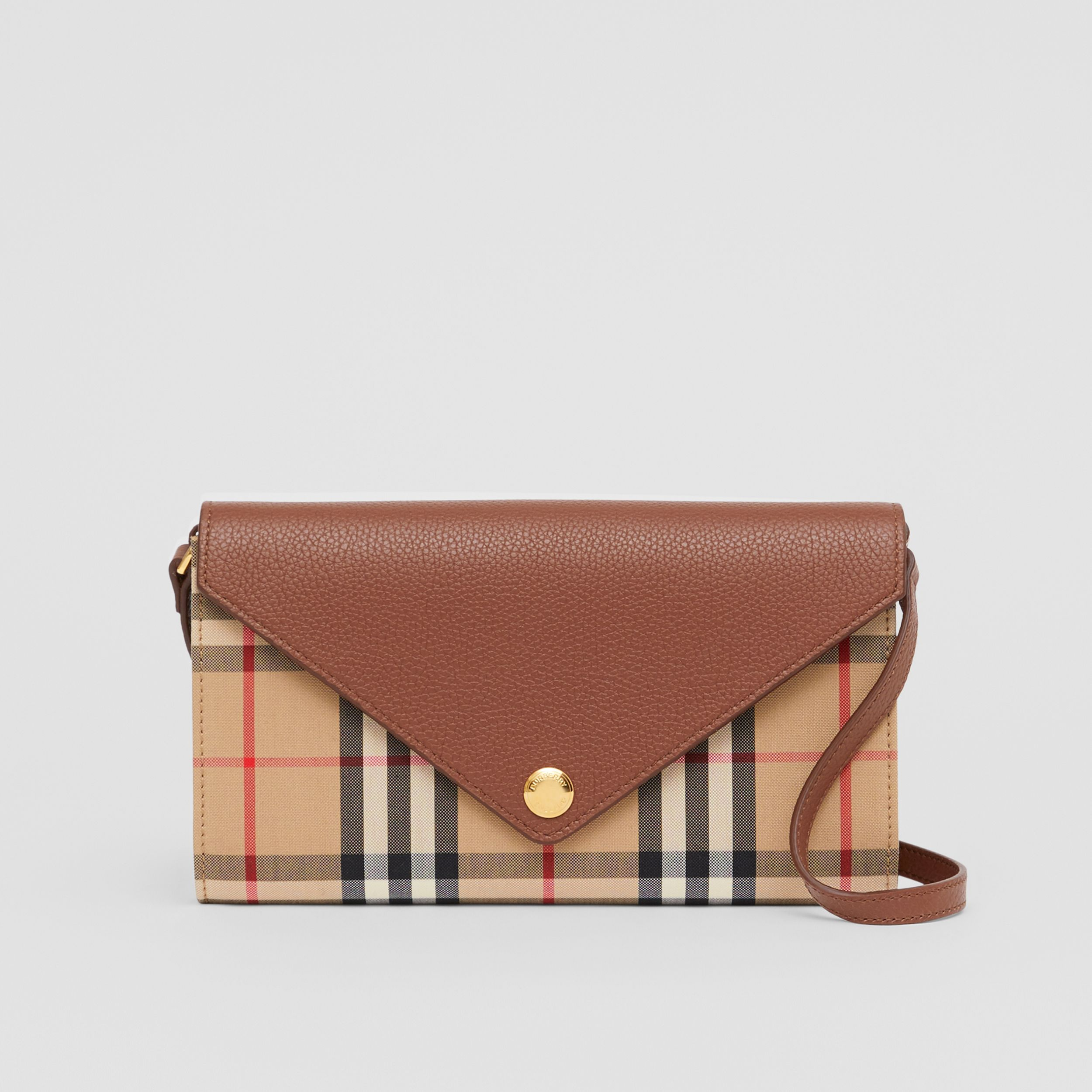 Vintage Check and Leather Wallet with Detachable Strap in Tan - Women | Burberry - 1
