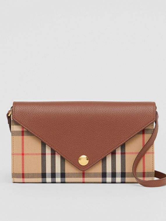 Vintage Check and Leather Wallet with Detachable Strap in Tan