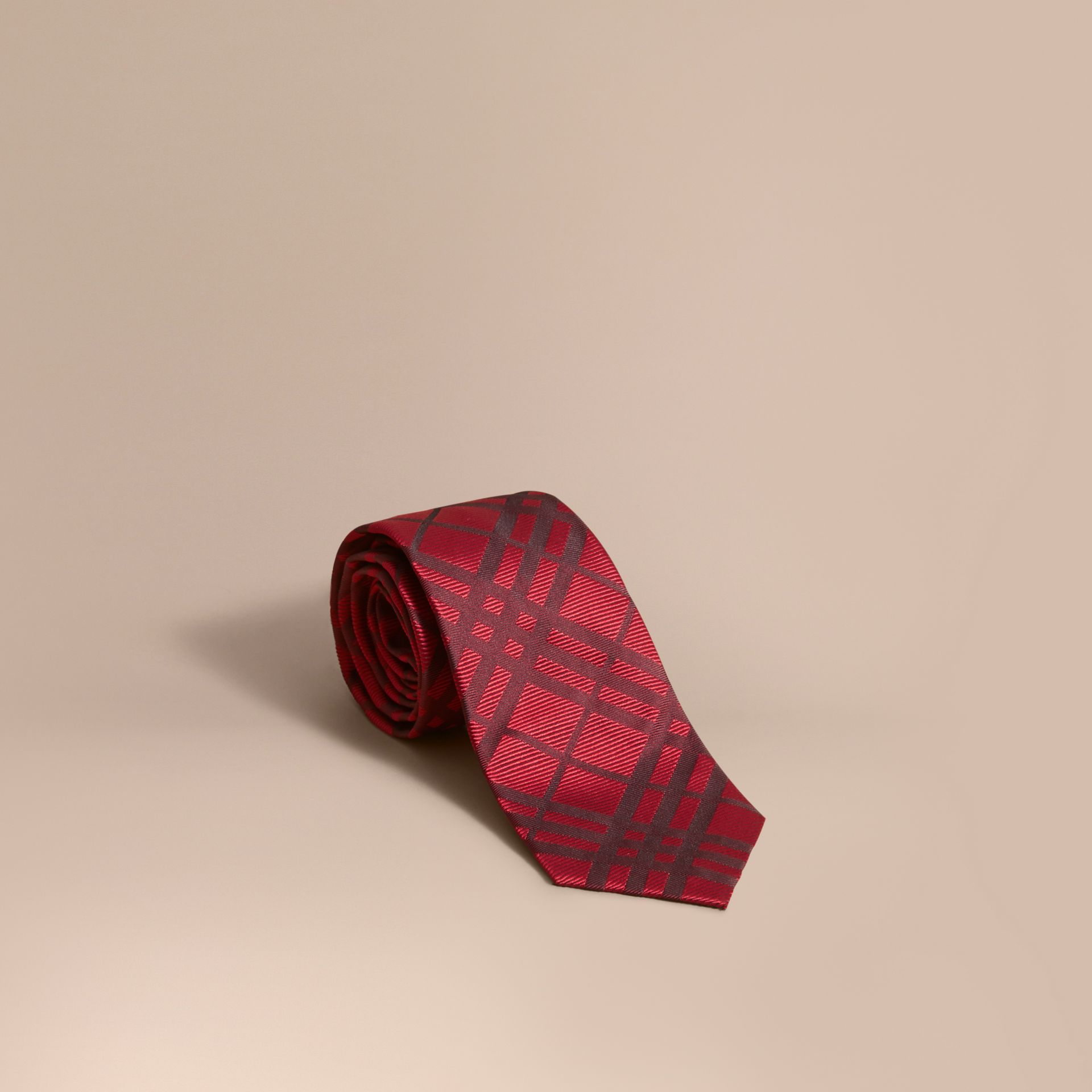 Modern Cut Check Jacquard Silk TIe Parade Red - gallery image 1