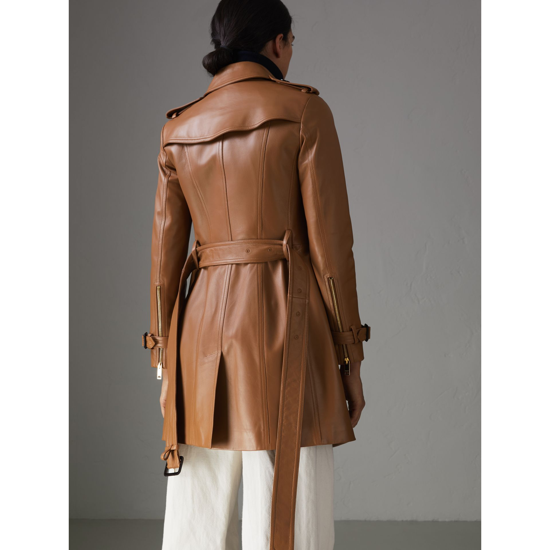 Sandringham Fit Lambskin Trench Coat in Caramel - Women | Burberry - gallery image 2