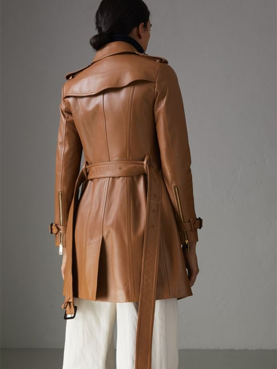 Sandringham Fit Lambskin Trench Coat in Caramel - Women | Burberry - cell image 2