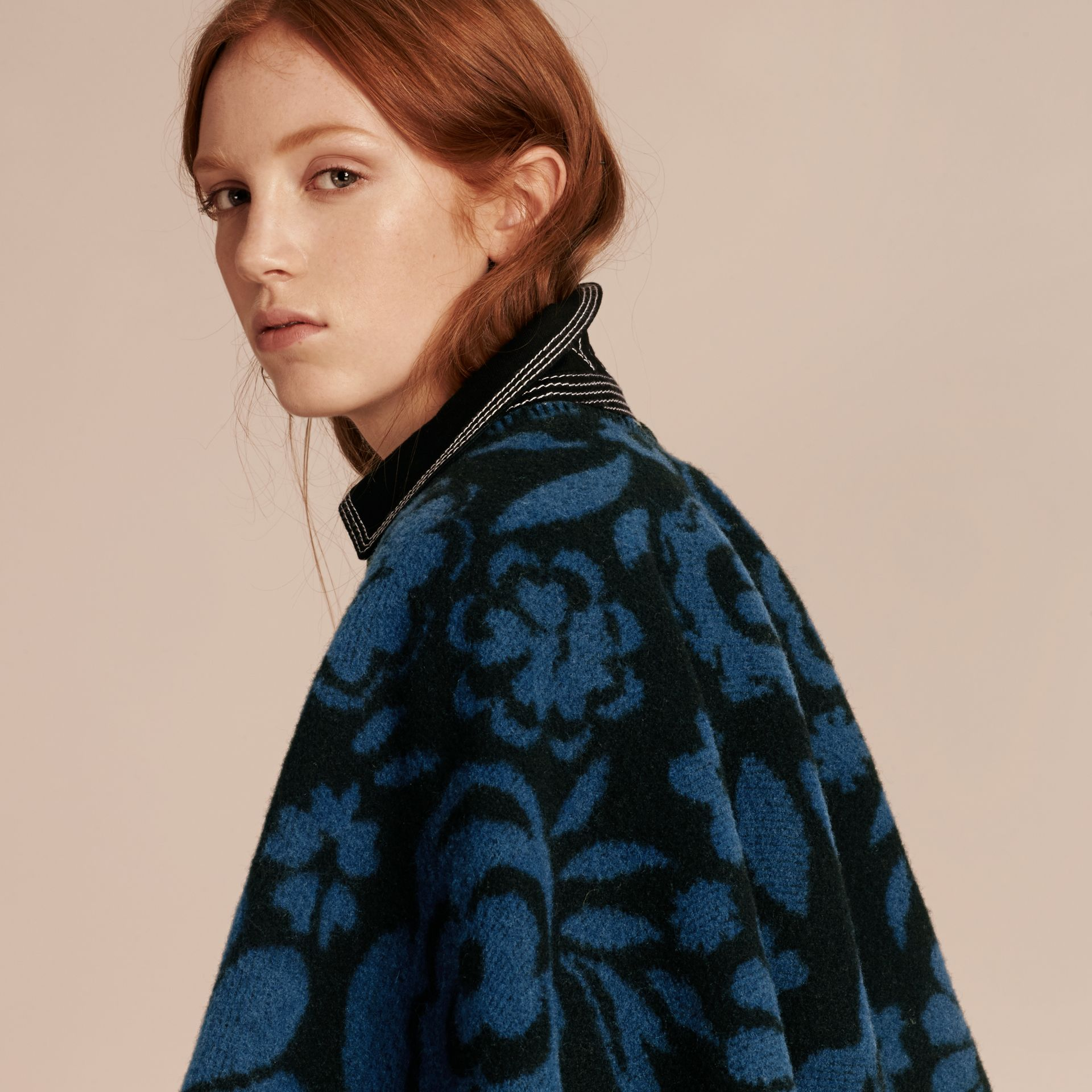 Marine blue Floral Jacquard Wool Cashmere Poncho - gallery image 5