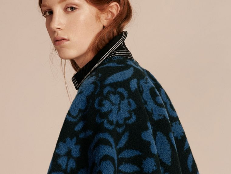 Marine blue Floral Jacquard Wool Cashmere Poncho - cell image 4