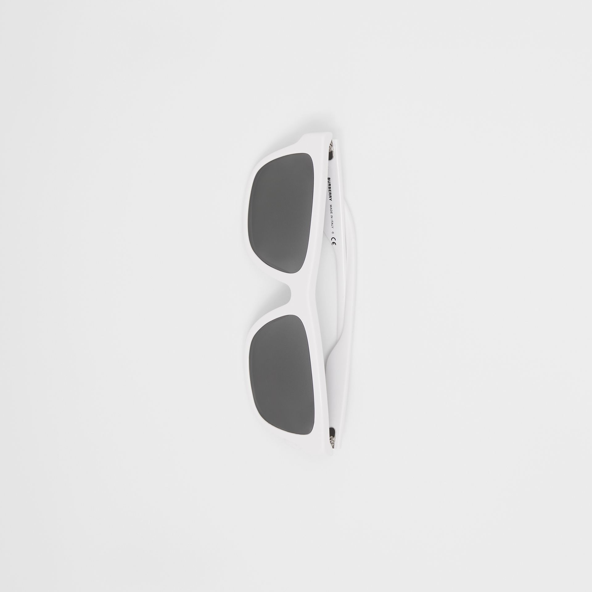 Square Frame Sunglasses in White - Men | Burberry Australia - gallery image 3