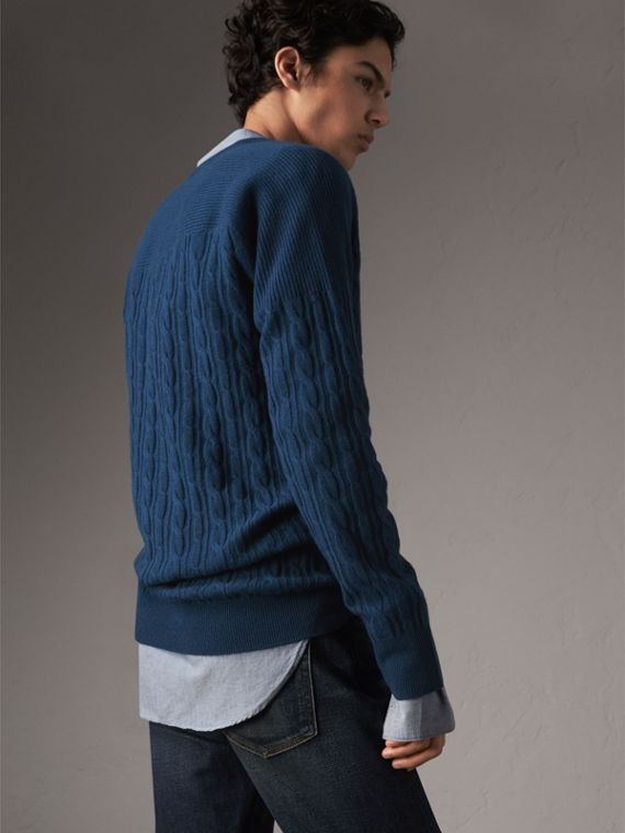 Cable and Rib Knit Cashmere V-neck Sweater in Bright Navy