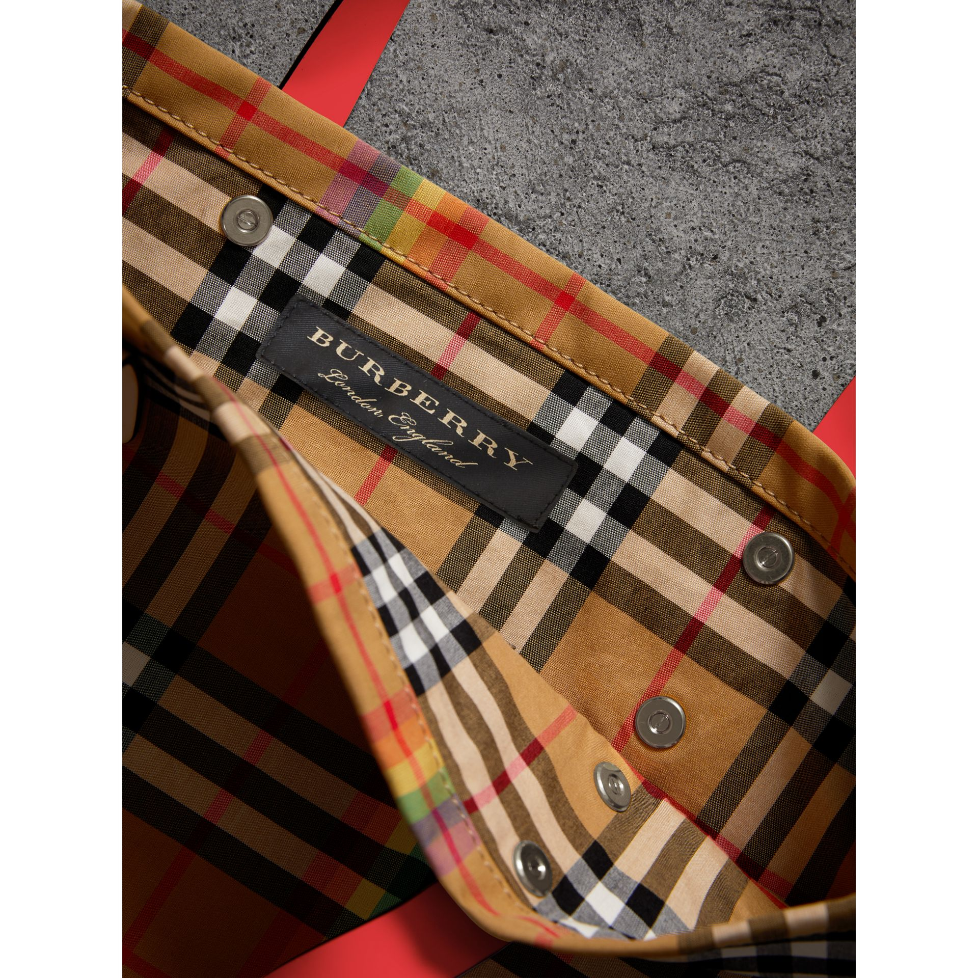 Large Rainbow Vintage Check Shopper in Bright Peony | Burberry - gallery image 6
