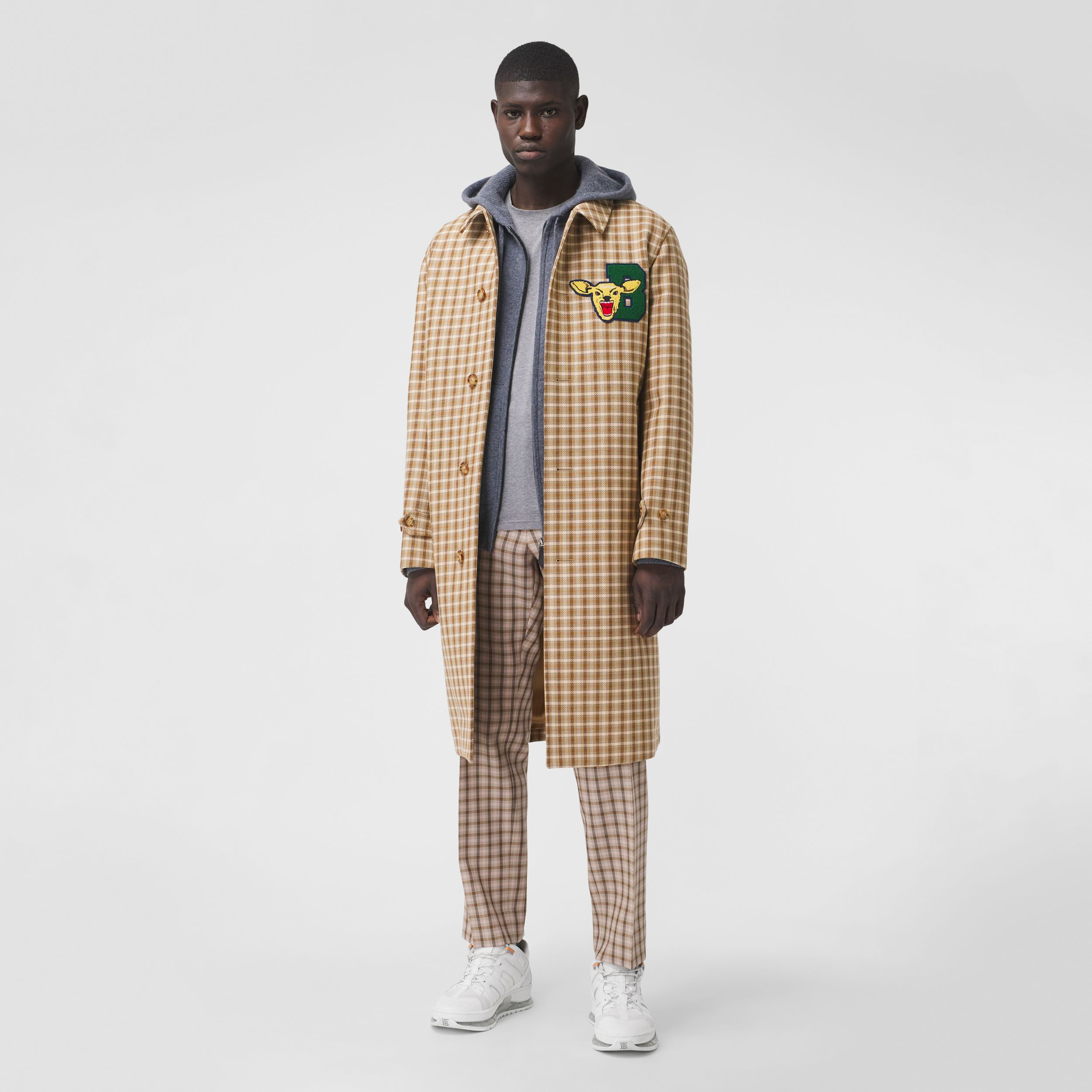Varsity Graphic Check Bonded Cotton Car Coat in Soft Fawn - Men | Burberry - 1