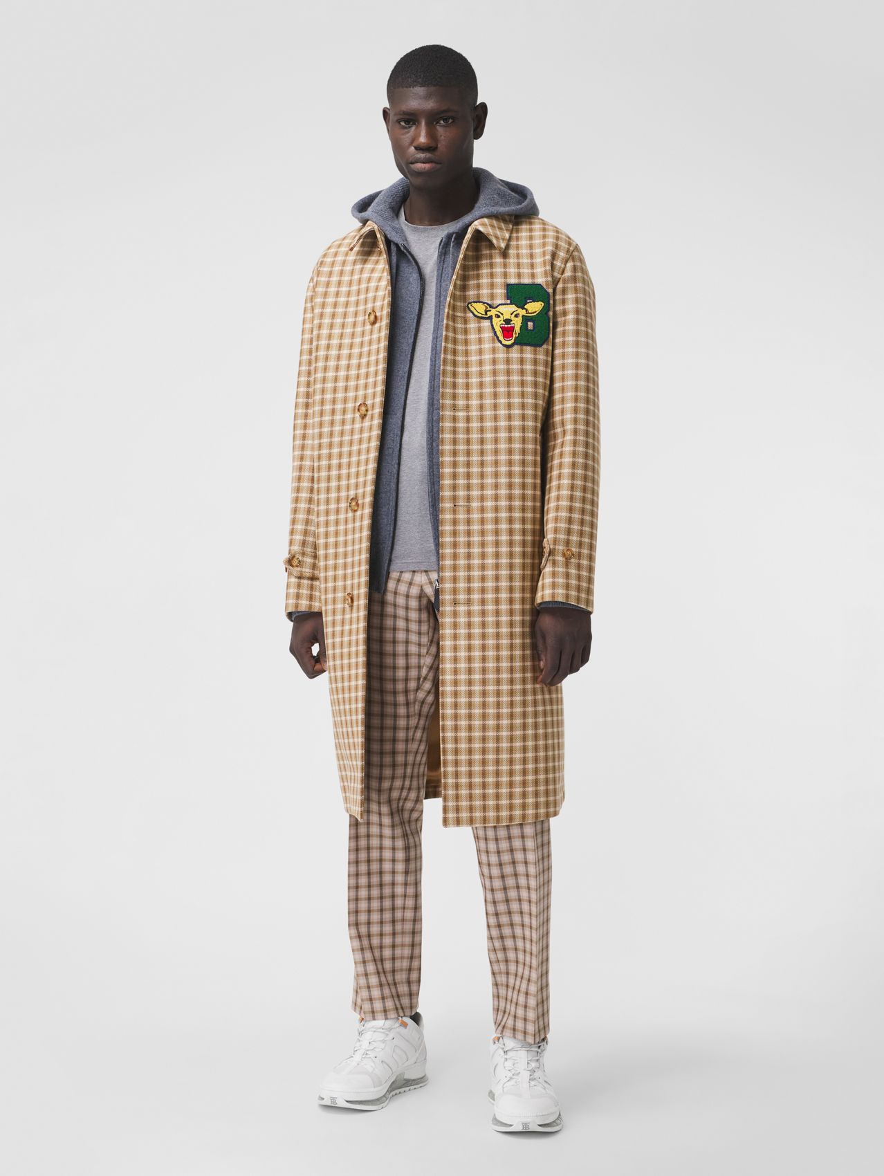 Varsity Graphic Check Bonded Cotton Car Coat in Soft Fawn