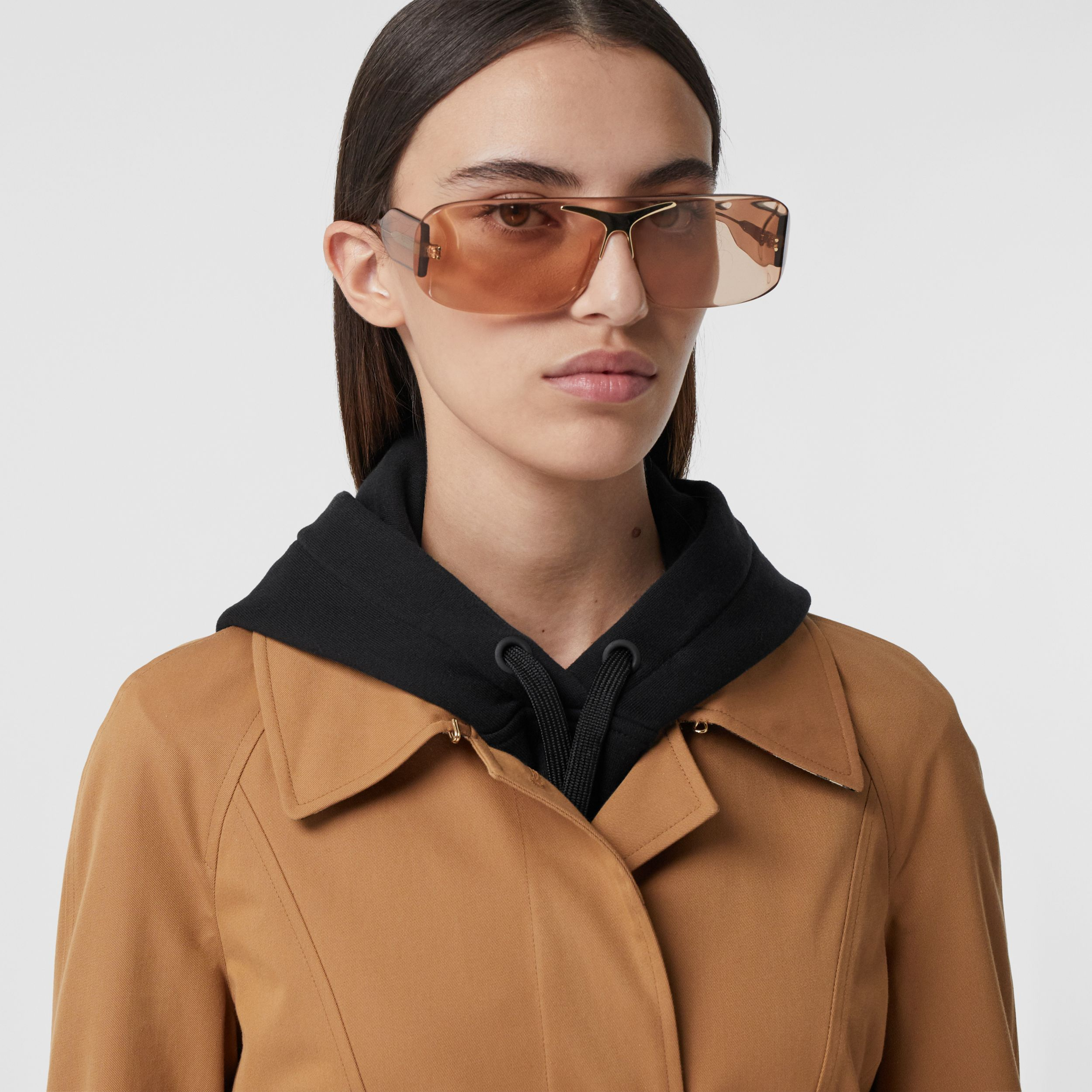 Cotton Gabardine Belted Swing Coat in Nutmeg - Women | Burberry United States - 2