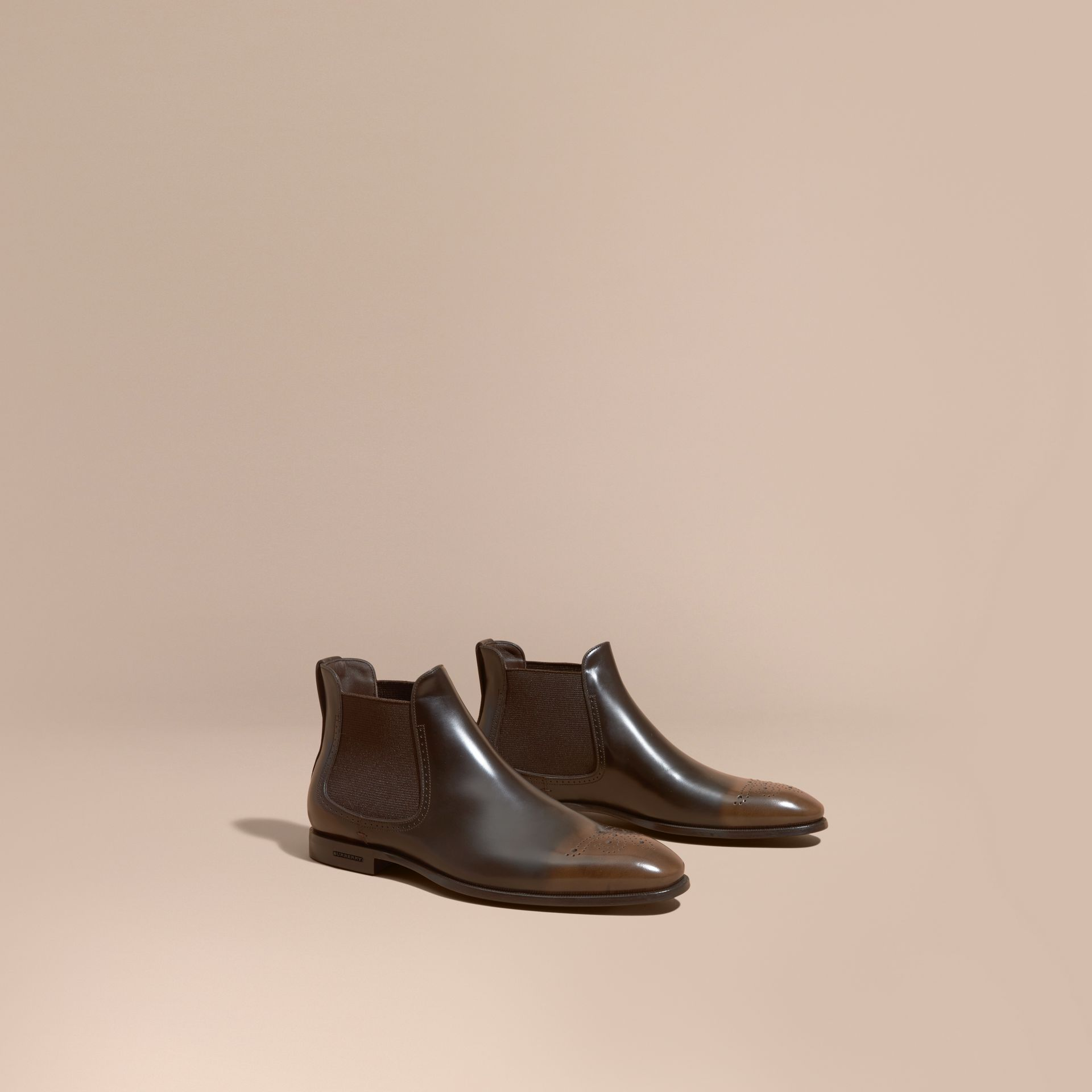 Perforated Detail Leather Chelsea Boots in Chocolate Brown - gallery image 1
