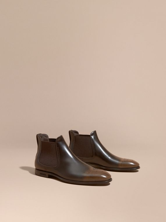 Perforated Detail Leather Chelsea Boots in Chocolate Brown - Men | Burberry Singapore