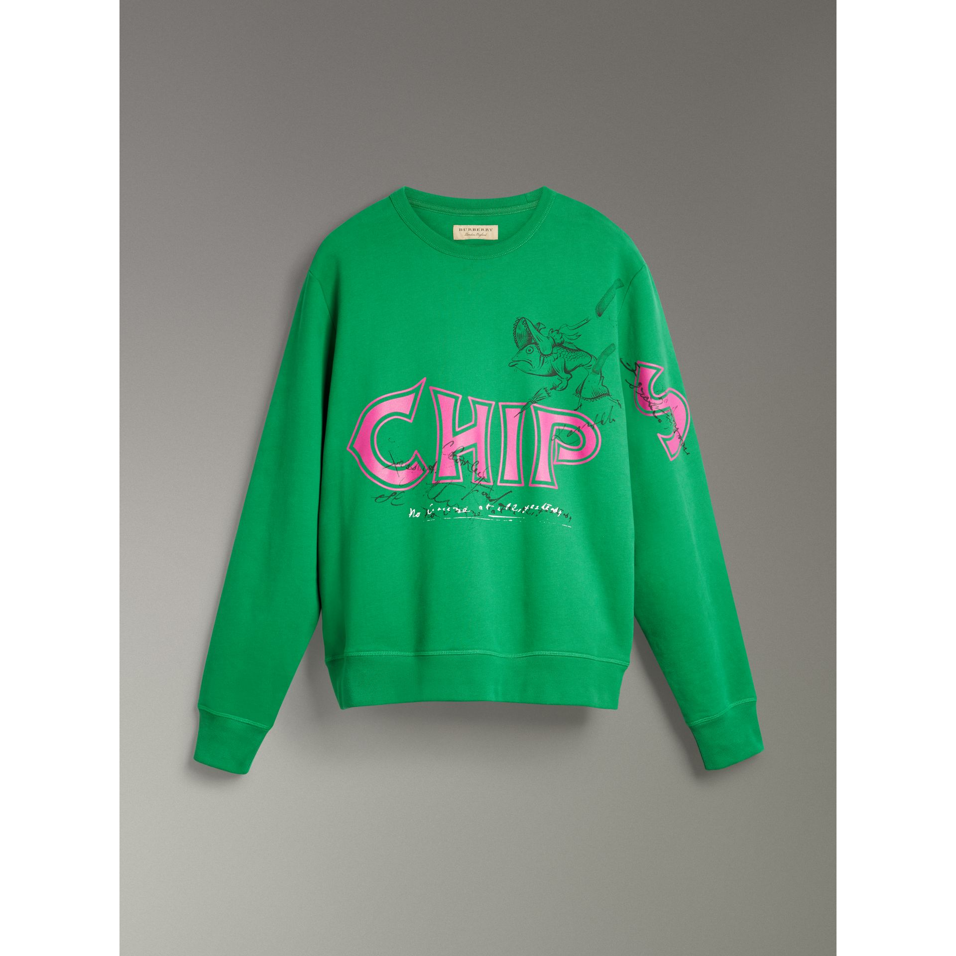 Fish and Chips Print Cotton Sweatshirt in Pigment Green - Men | Burberry - gallery image 3