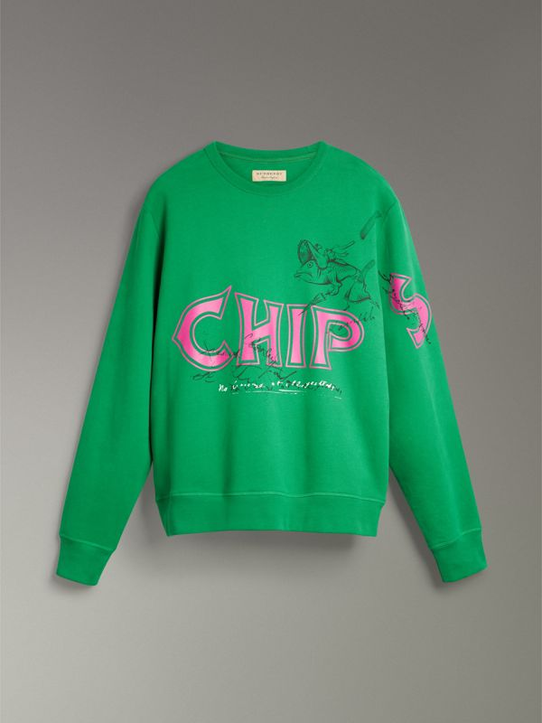 Fish and Chips Print Cotton Sweatshirt in Pigment Green - Men | Burberry - cell image 3