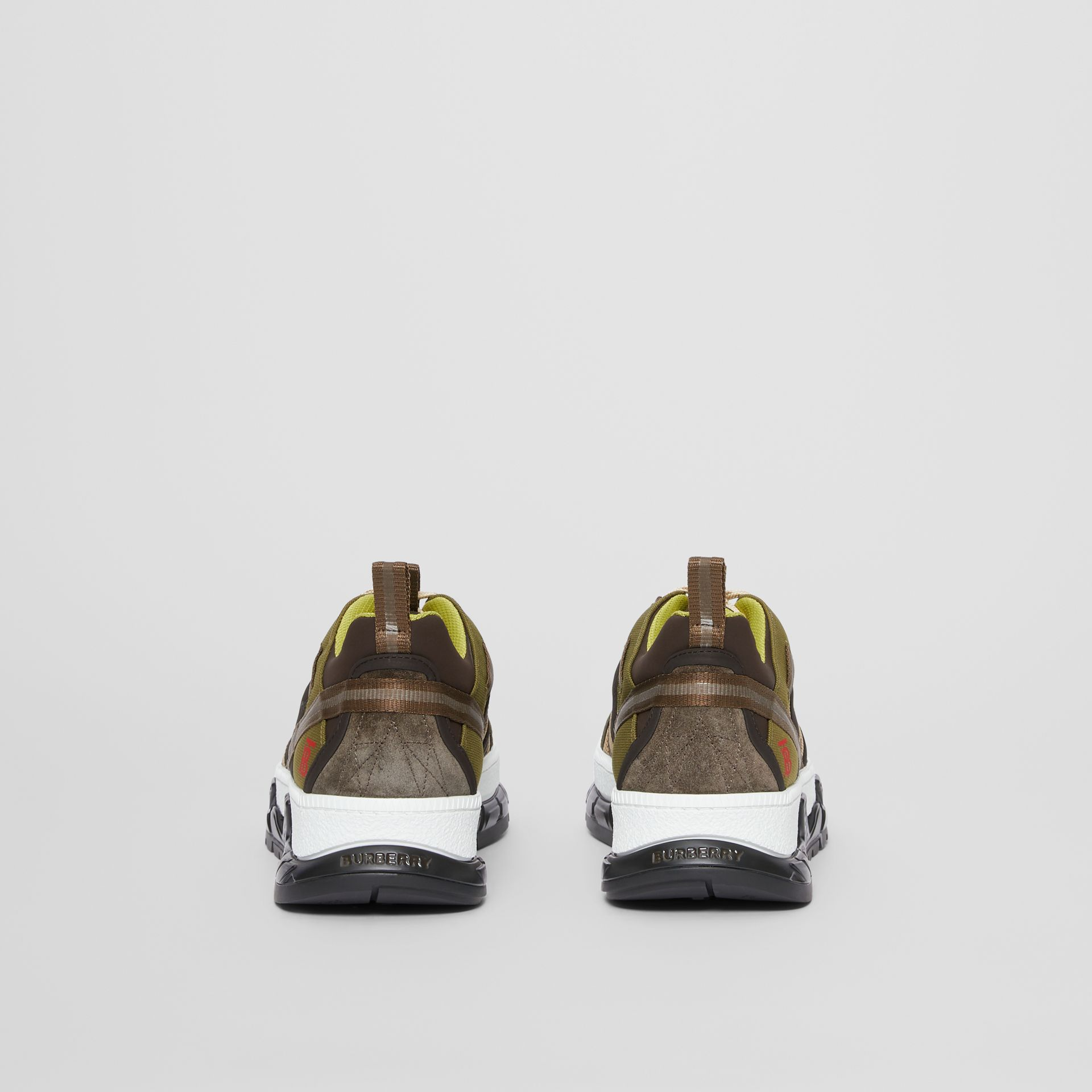 Mesh and Suede Union Sneakers in Khaki / Brown - Men | Burberry Australia - gallery image 3