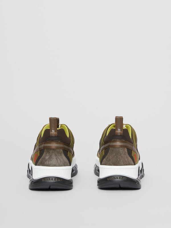 Mesh and Suede Union Sneakers in Khaki / Brown - Men | Burberry Australia - cell image 3