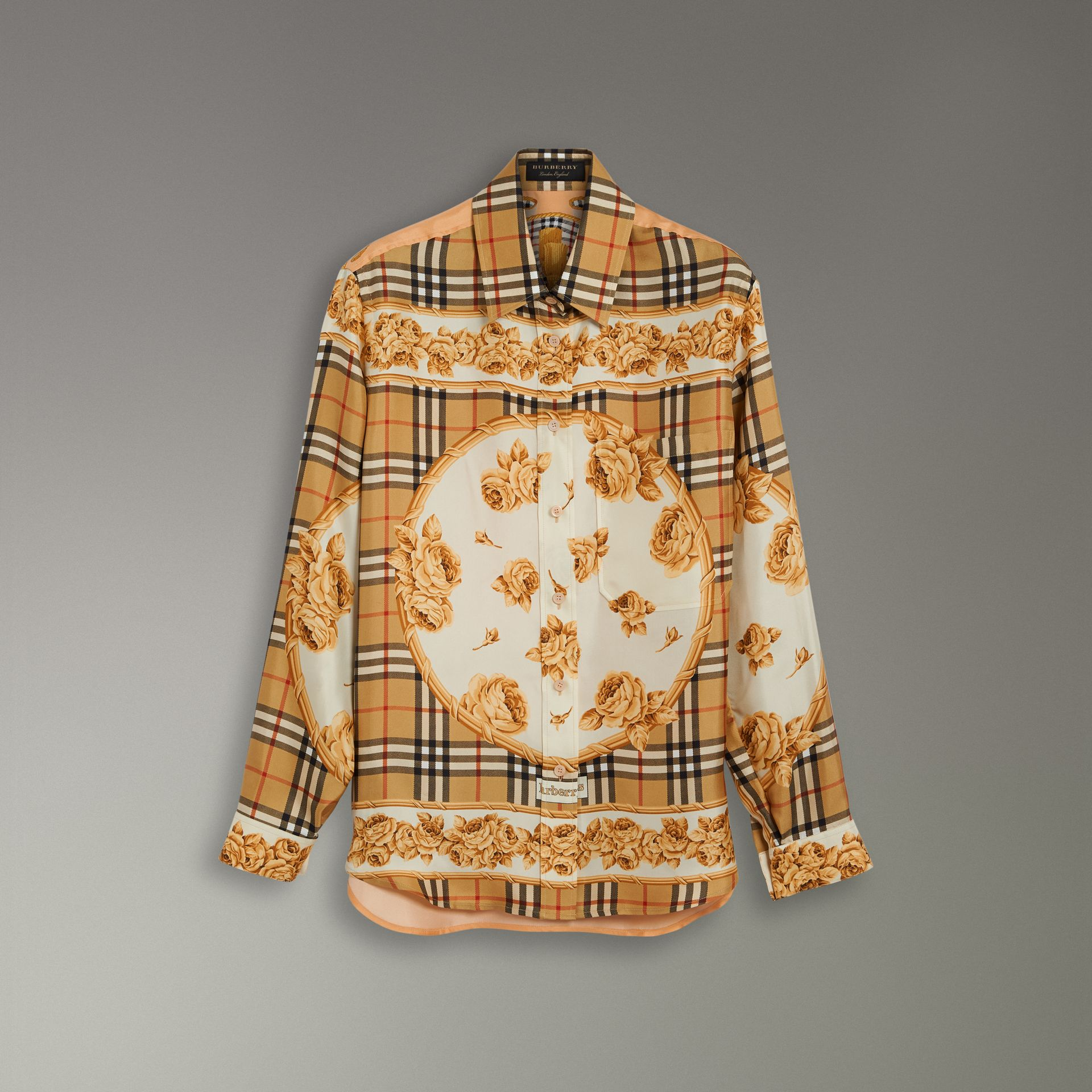 Archive Scarf Print Silk Shirt in Antique Yellow - Women | Burberry Singapore - gallery image 3
