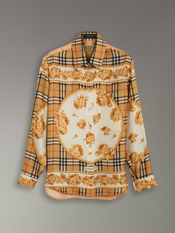 Archive Scarf Print Silk Shirt in Antique Yellow - Women | Burberry - cell image 3