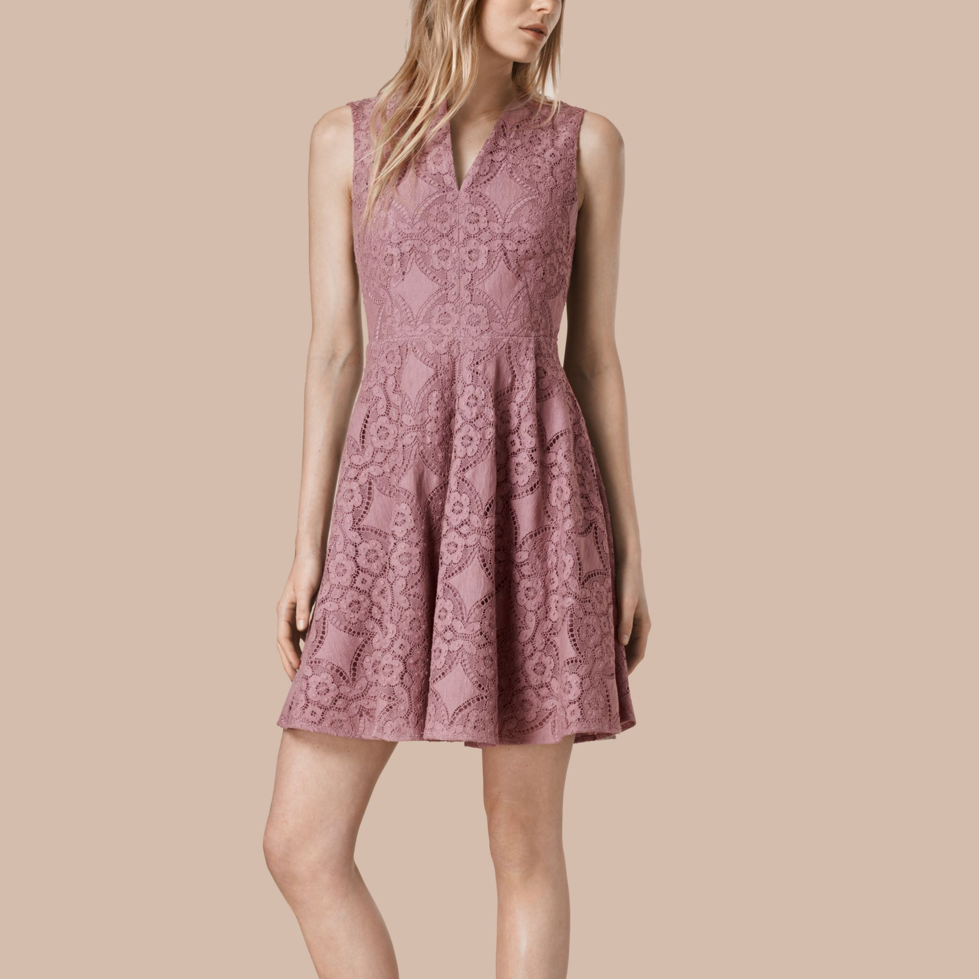 Pale mauve English Lace A-line Sleeveless Dress - gallery image 1