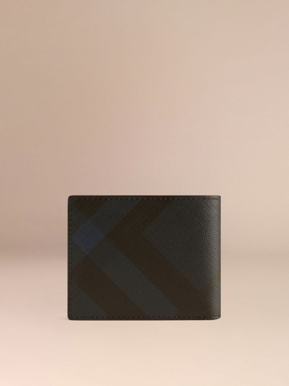 London Check and Leather Bifold Wallet Navy/black - cell image 2