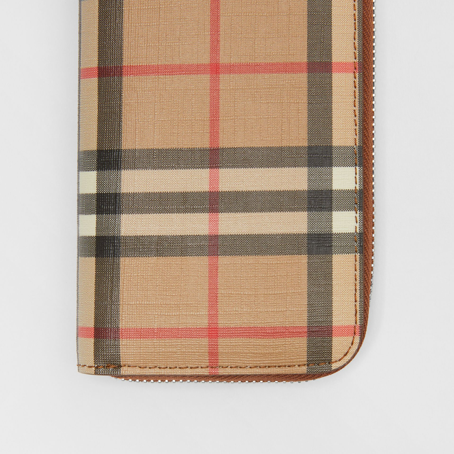 Vintage Check and Leather Ziparound Wallet in Malt Brown - Women | Burberry Australia - gallery image 1