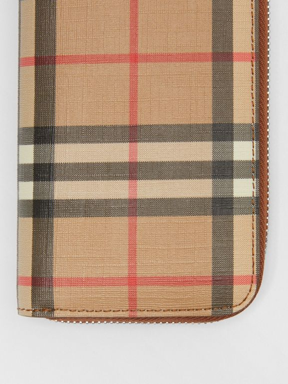 Vintage Check and Leather Ziparound Wallet in Malt Brown - Women | Burberry - cell image 1