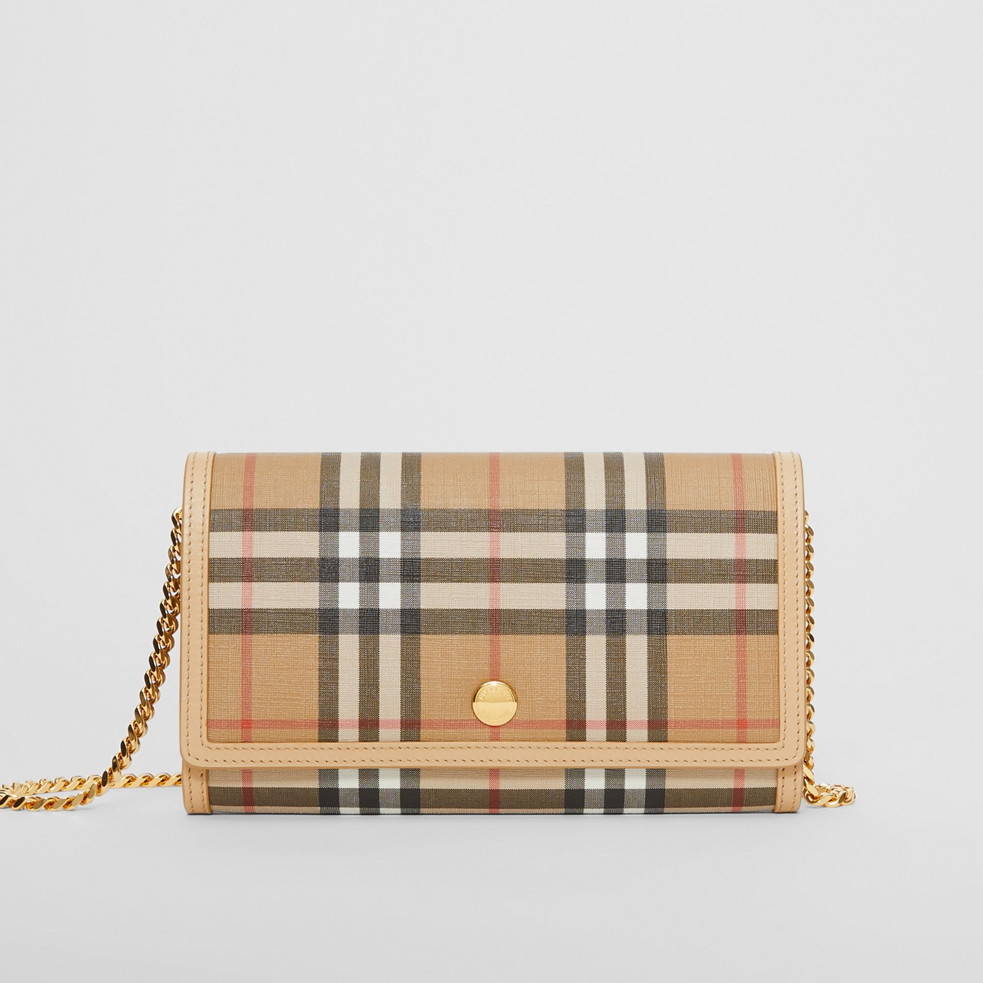 Vintage Check E-canvas Wallet with Detachable Strap in Beige - Women | Burberry - gallery image 0