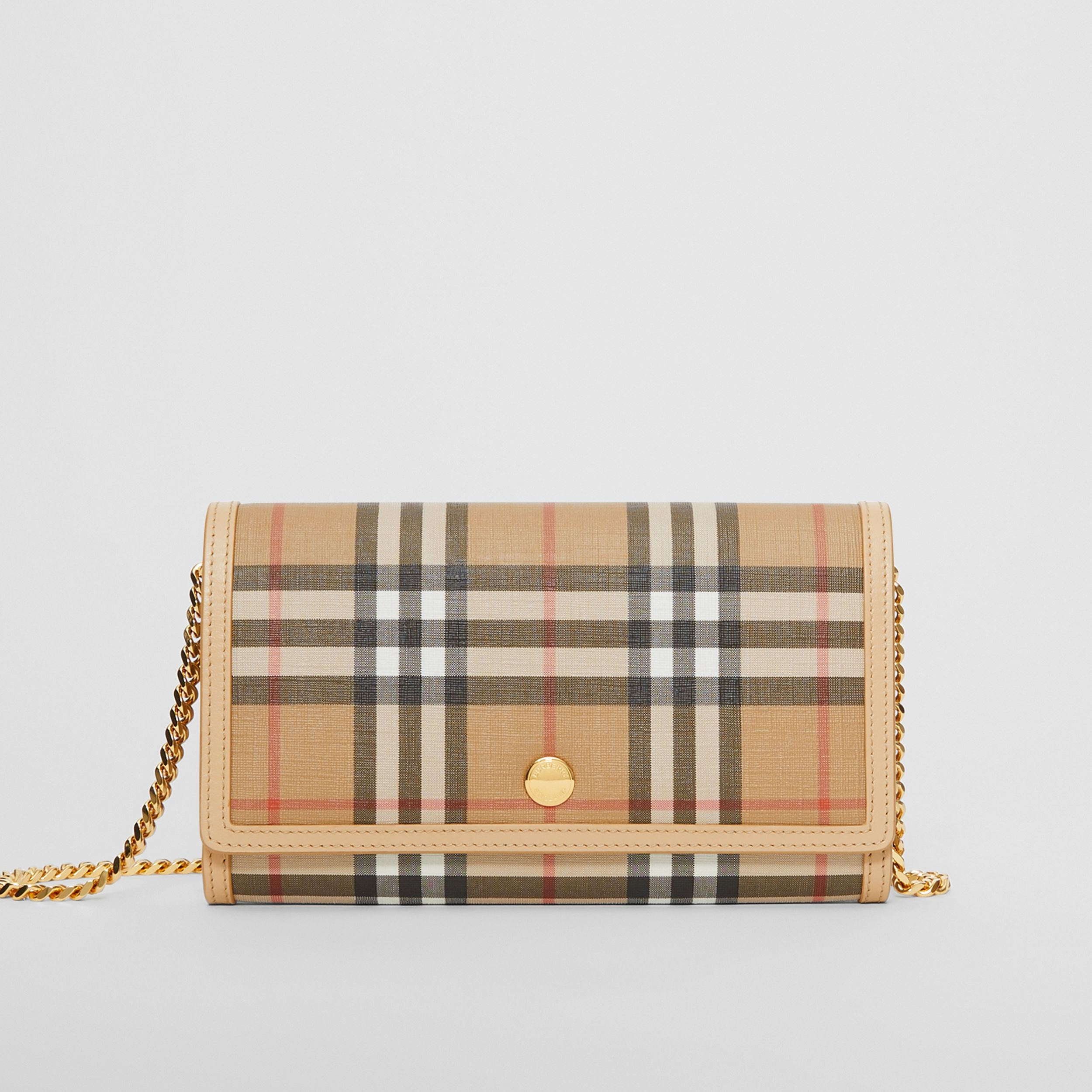 Vintage Check E-canvas Wallet with Detachable Strap in Beige - Women | Burberry United Kingdom - 1