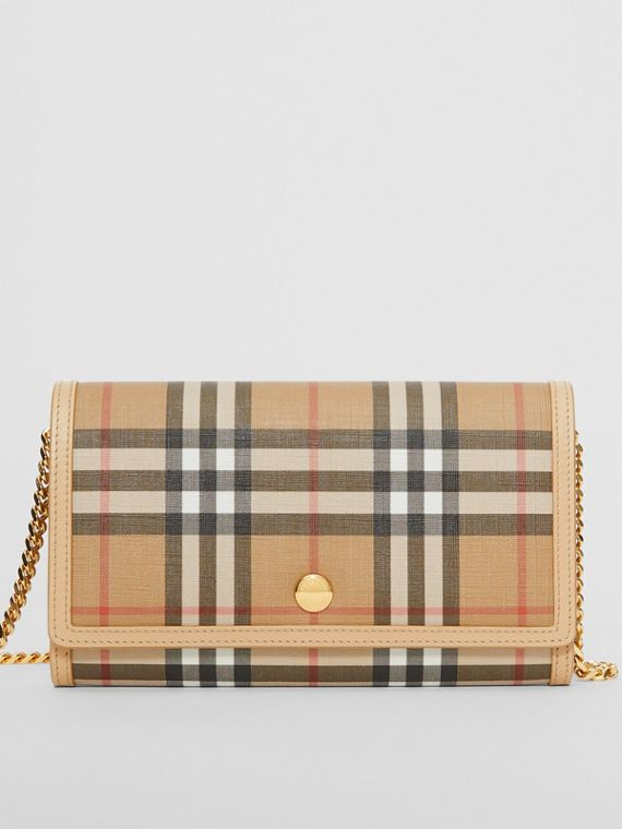 Vintage Check E-canvas Wallet with Detachable Strap in Beige