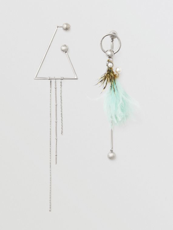 Triangle and Feather Palladium-plated Drop Earrings in Palladio/pale Celadon