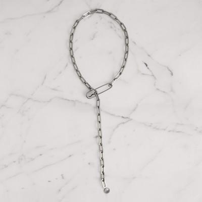 Kilt Pin Palladium-Plated Long Link Drop Necklace, Palladio