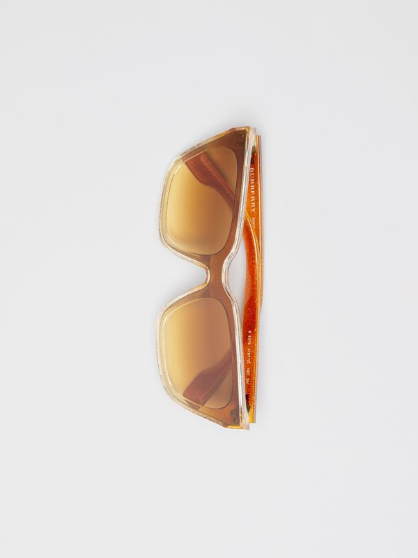 Glitter Detail Square Frame Shield Sunglasses in Yellow - Women | Burberry Australia - cell image 3