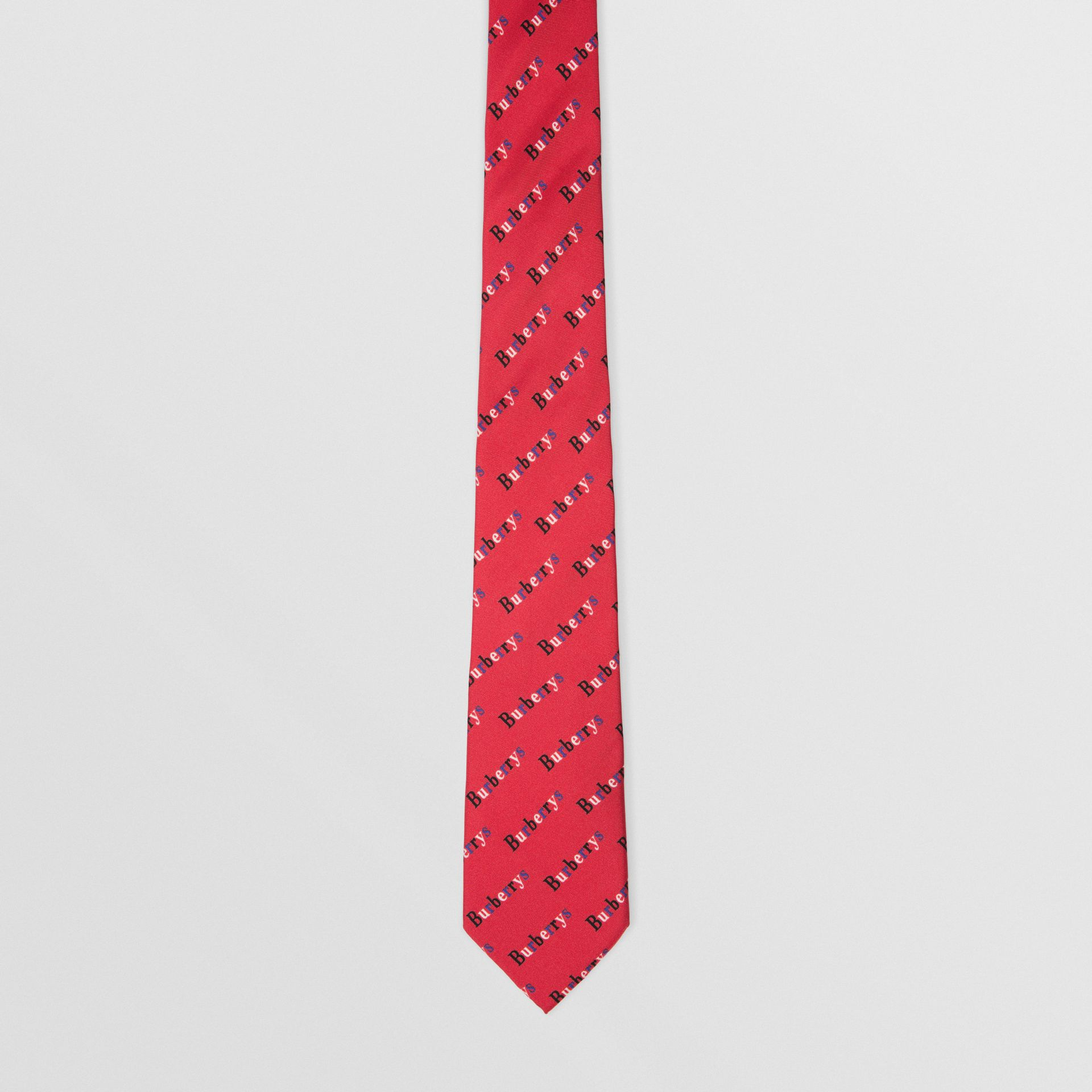 Slim Cut Archive Logo Print Silk Tie in Parade Red - Men | Burberry Hong Kong - gallery image 3