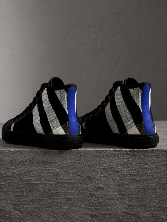 Canvas Check and Leather High-top Sneakers in Black - Men | Burberry Australia - cell image 3