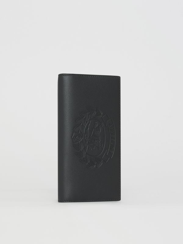 Embossed Crest Leather Continental Wallet in Black - Men | Burberry Singapore - cell image 3