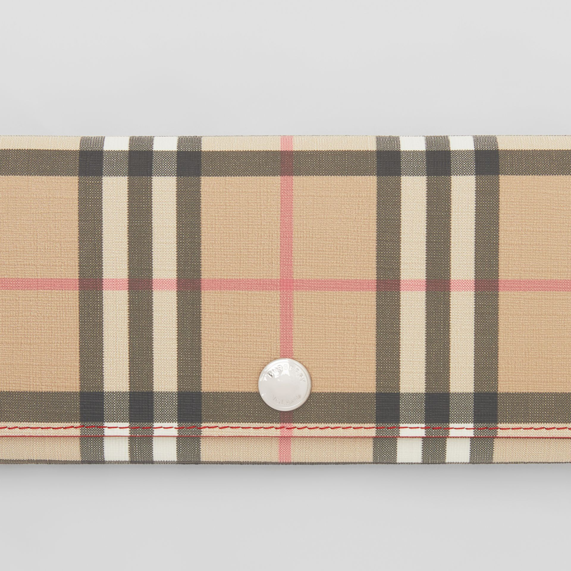 Vintage Check E-canvas and Leather Continental Wallet in Bright Military Red - Women | Burberry Australia - gallery image 1