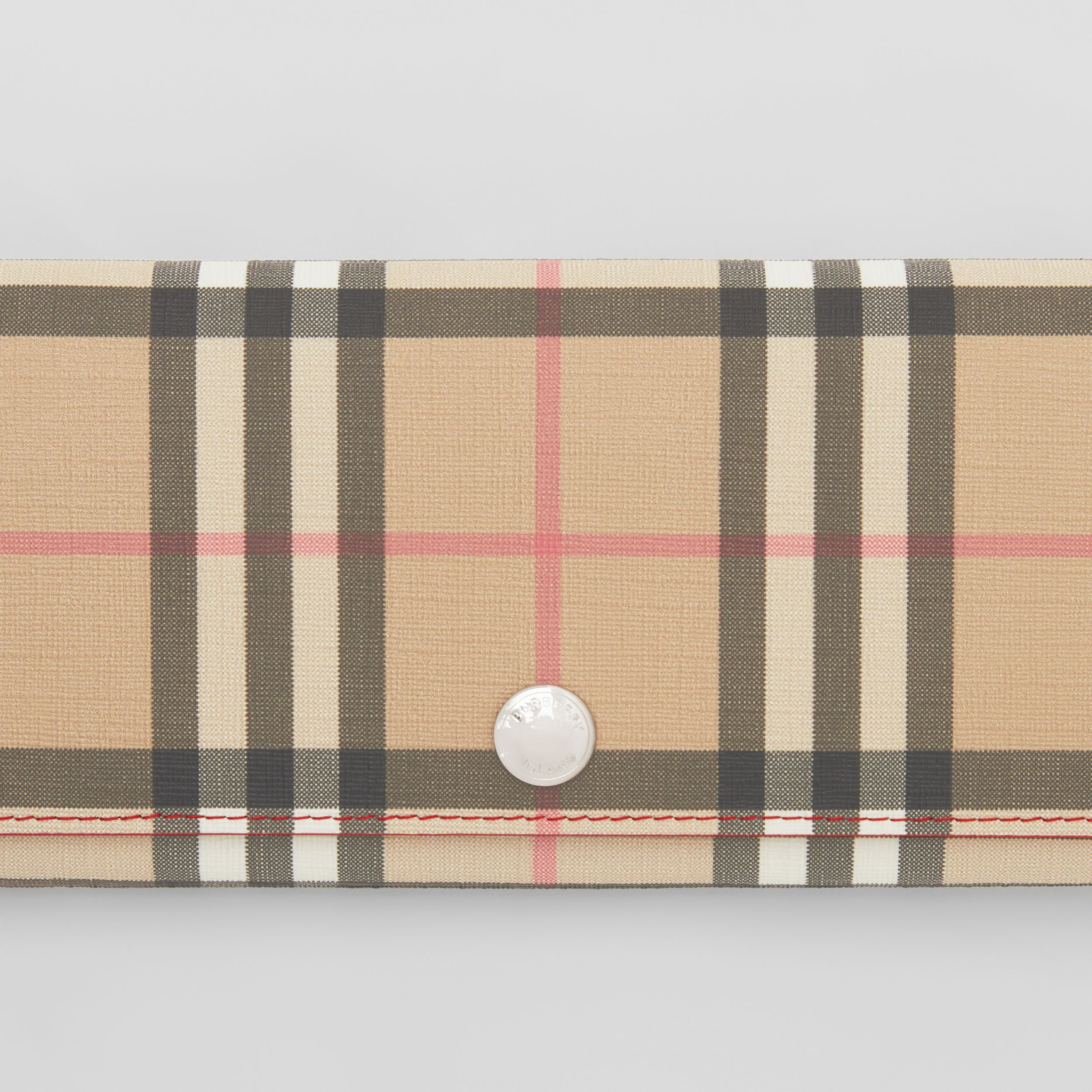Vintage Check E-canvas and Leather Continental Wallet in Bright Military Red - Women | Burberry - 2