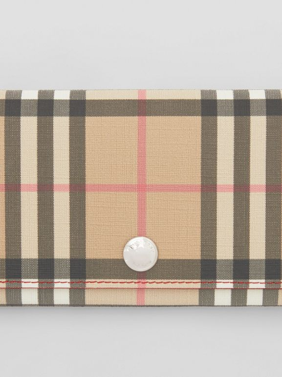 Vintage Check E-canvas and Leather Continental Wallet in Bright Military Red - Women | Burberry Australia - cell image 1
