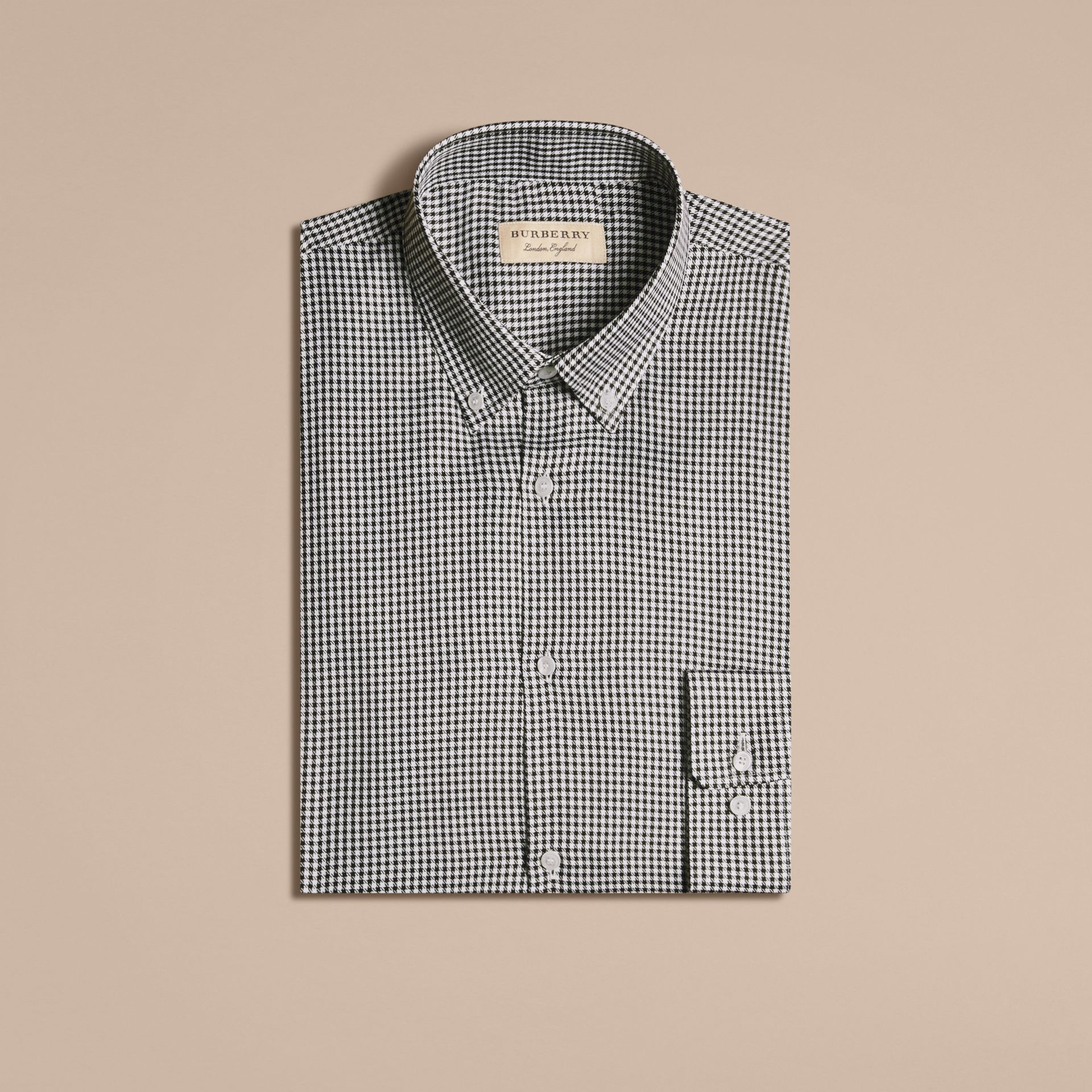 Black Modern Fit Button-down Collar Check Cotton Shirt - gallery image 4
